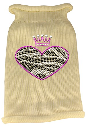 Zebra Heart Rhinestone Knit Pet Sweater MD Cream
